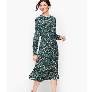 Talbots Teal Floral Print Keyhole Ruffle Dress NWT